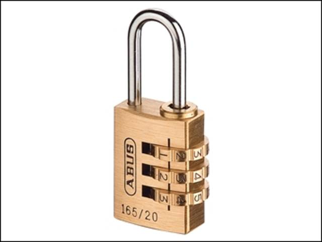 165/20 20mm Solid Brass Body Combination Padlock (3-Digit) Carded